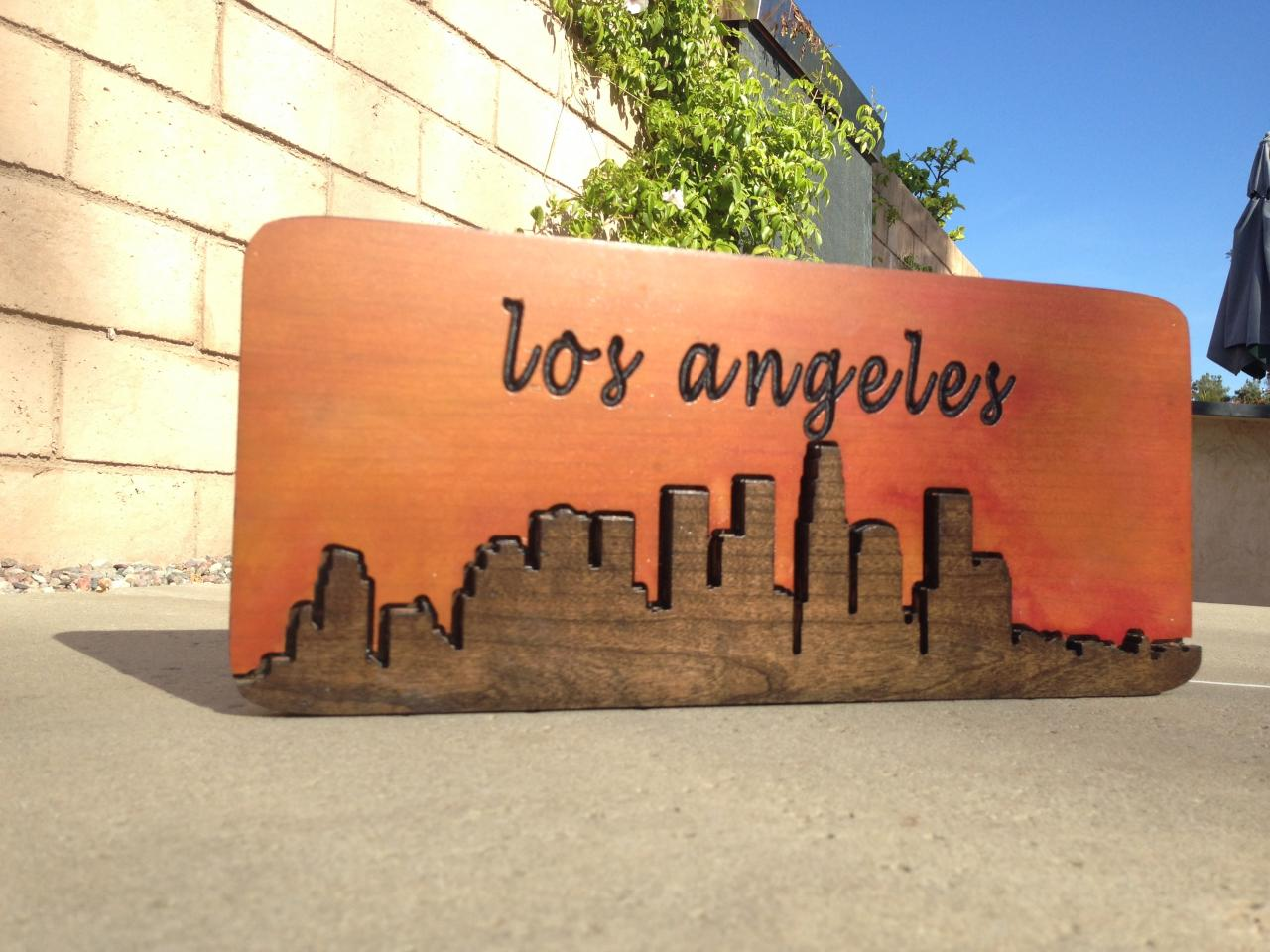 Los Angeles Wall Art downtown los angeles city scape - hand made wood sign - wood wall