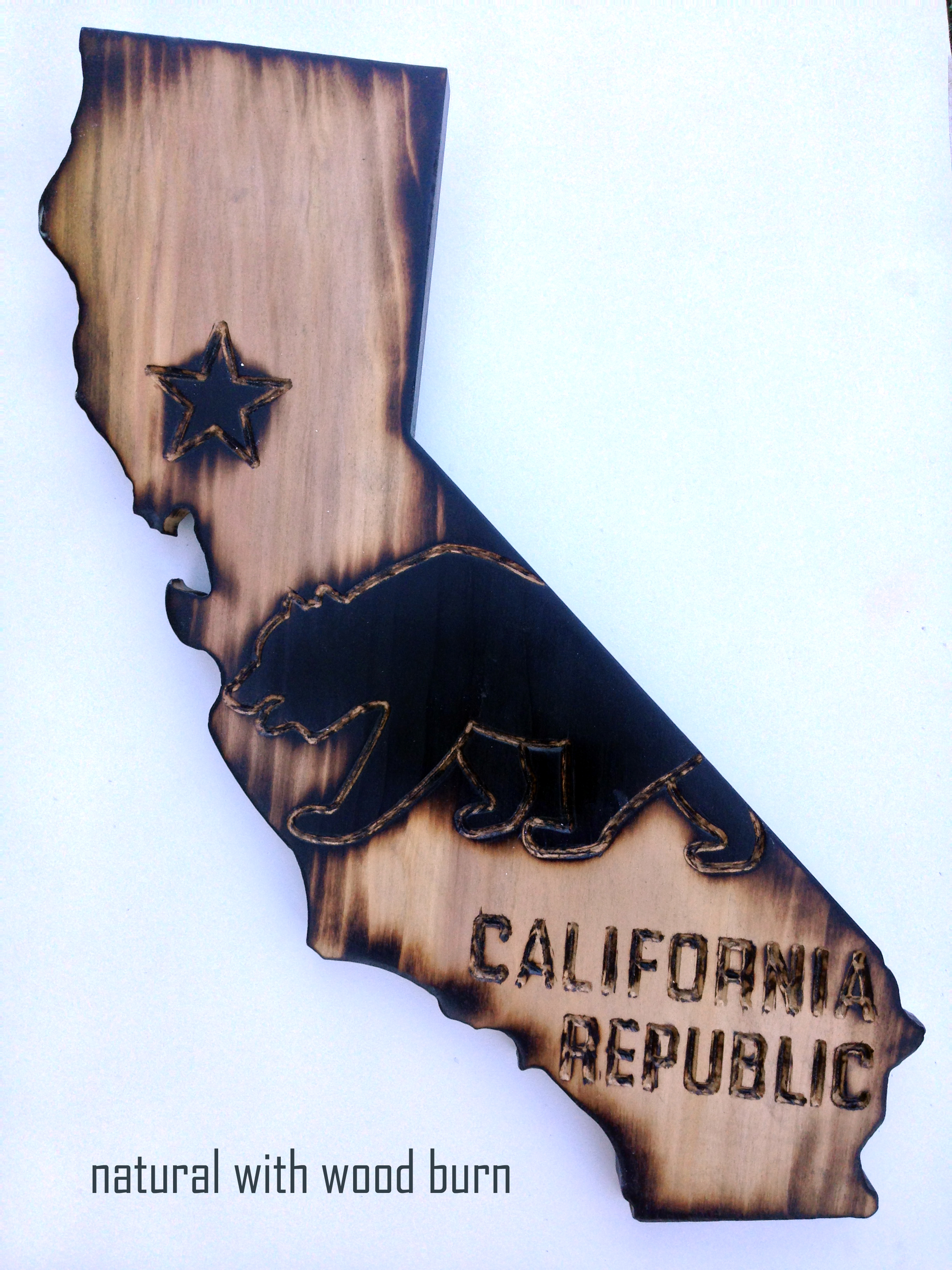 california wood wall art ca state flag with bear design wood burn hand made with poplar on. Black Bedroom Furniture Sets. Home Design Ideas